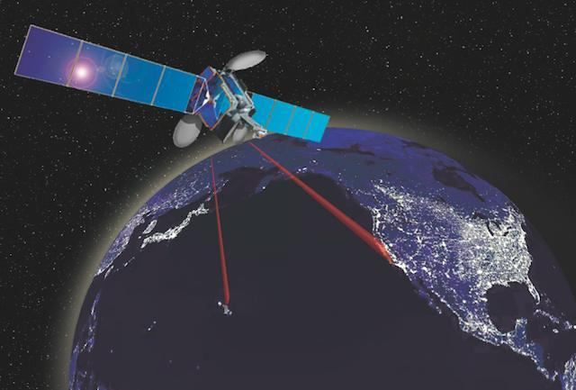 Imagen de la emisión-recepción de la señal láser desde el espacio