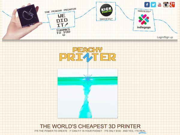 La startup Peachy Printer usa el crowdfunding para hacer llegar a los hogares del mundo impresoras 3D de bajo coste.