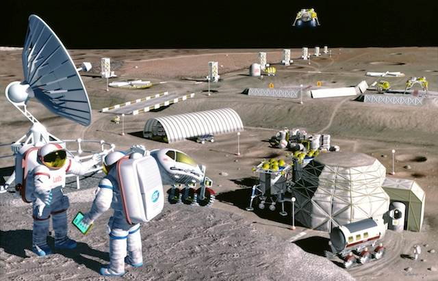 Dibujo de una base lunar según la NASA