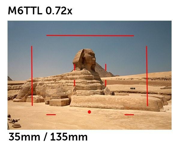 Esto es lo que muestra el visor de una M6TTL 0.72x cuando está montada una lente de 35mm o 135mm.