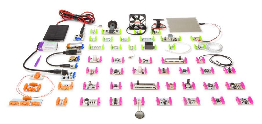 Los componentes de Little Bits, fáciles de conectar e identificados con un código de color.