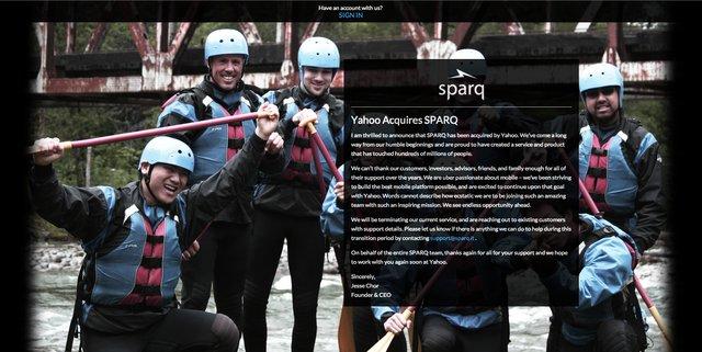 El CEO de Sparq ha anunciado su venta a Yahoo! en un post publicado en la web de la empresa