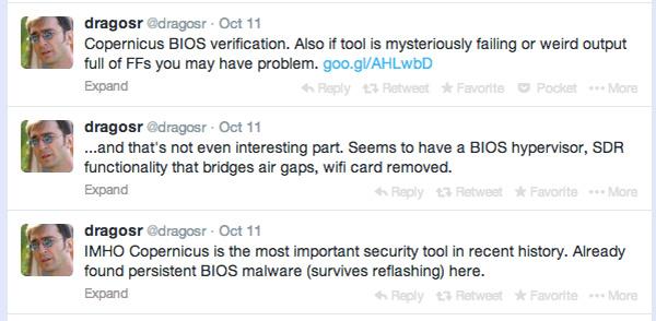 Twitter echa humo desde que @dragosr empezó a hablar de #badBIOS