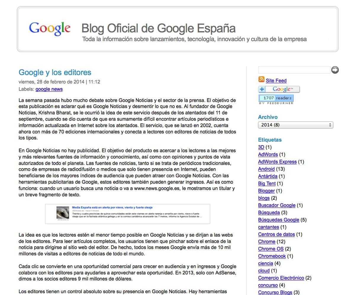 Comunicado oficial de Google Noticias en España.