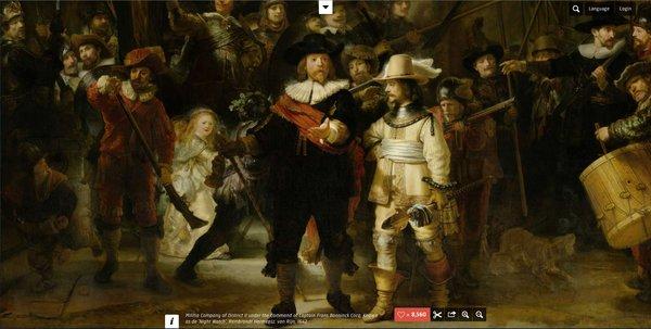 El Rijksmuseum ofrece en su web reproducciones de sus obras de arte más representativas, como La Guardia de la Noche