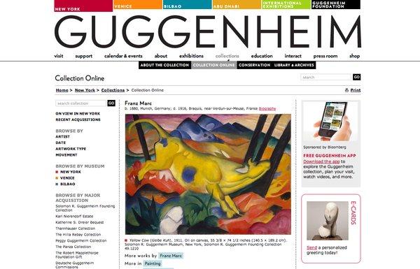 En la web del museo Guggenheim de Nueva York se pueden ver 1.500 de las obras de la Fundación ubicadas en cualquiera de sus cuatro sedes