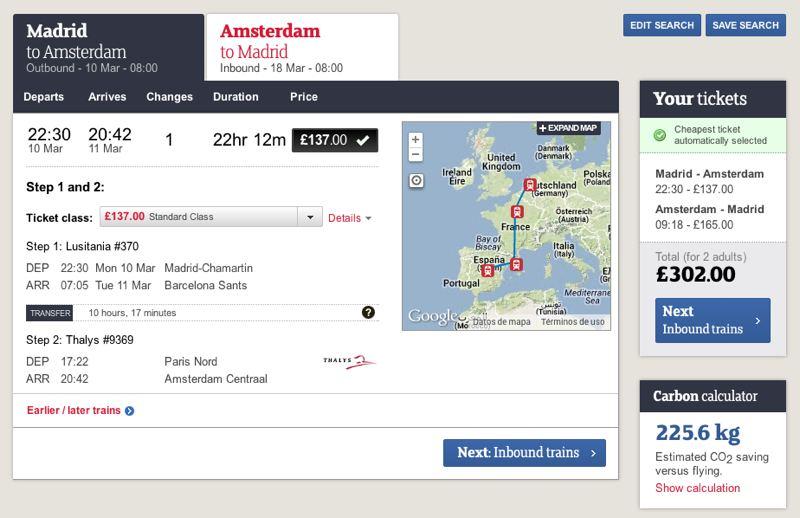 Madrid-Amsterdam, pasando por Barcelona y París. Dos personas por 300 libras (360 euros).