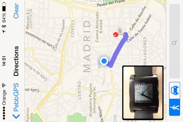 PebbGPS permite seguir las indicaciones para llegar a destino en el reloj.