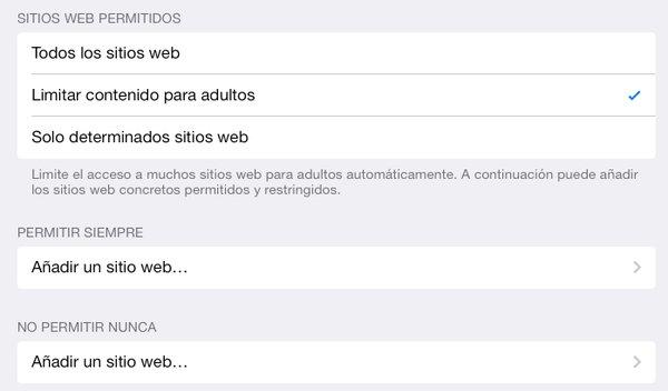 Las restricciones que iOS dispone para la web permiten bloquear el acceso a determinadas páginas