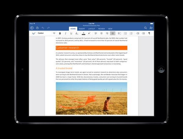 Las apps de Office para iPad tienen la barra de herramientas Ribbon en su parte superior