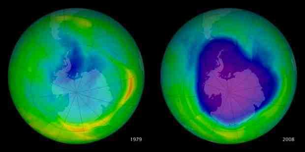 Agujero de la capa de ozono. Comparación entre los años 1979 y 2008 realizada por la NASA