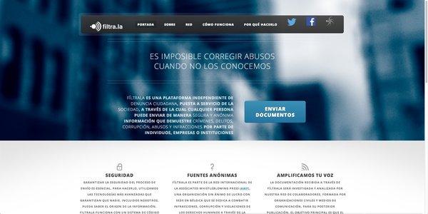 Filtrala es una web, creada para España, con la que cualquier ciudadano puede enviar archivos y documentos que ayuden a destapar delitos a medios de comunicación