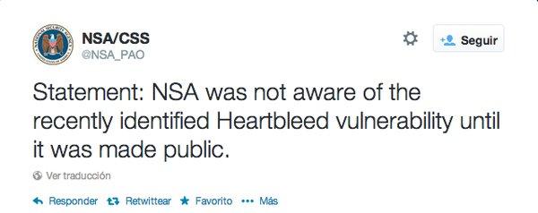 La NSA ha publicado un comunicado negando conocer desde hace tiempo la existencia de Heratbleed