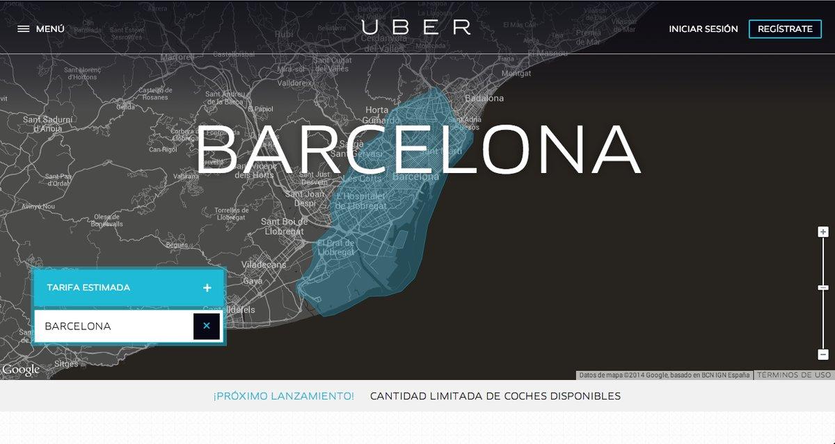 El servicio de transporte de viajeros Uber llega a Barcelona