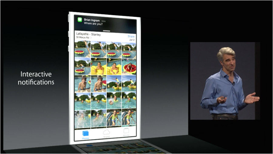 Las notificaciones en iOS8 ahora permiten realizar acciones desde la aplicación actual.