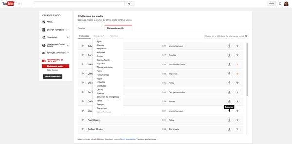 Los nuevos efectos de audio de YouTube están ya disponibles