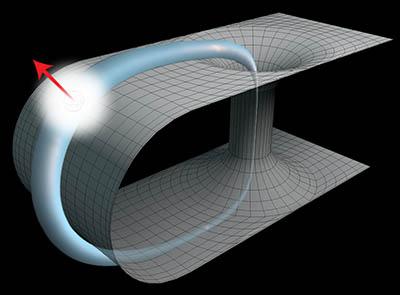 Simulación de una partícula cuántica viajando en el espacio-tiempo a través de un agujero de gusano. Foto: Martin Ringbauer