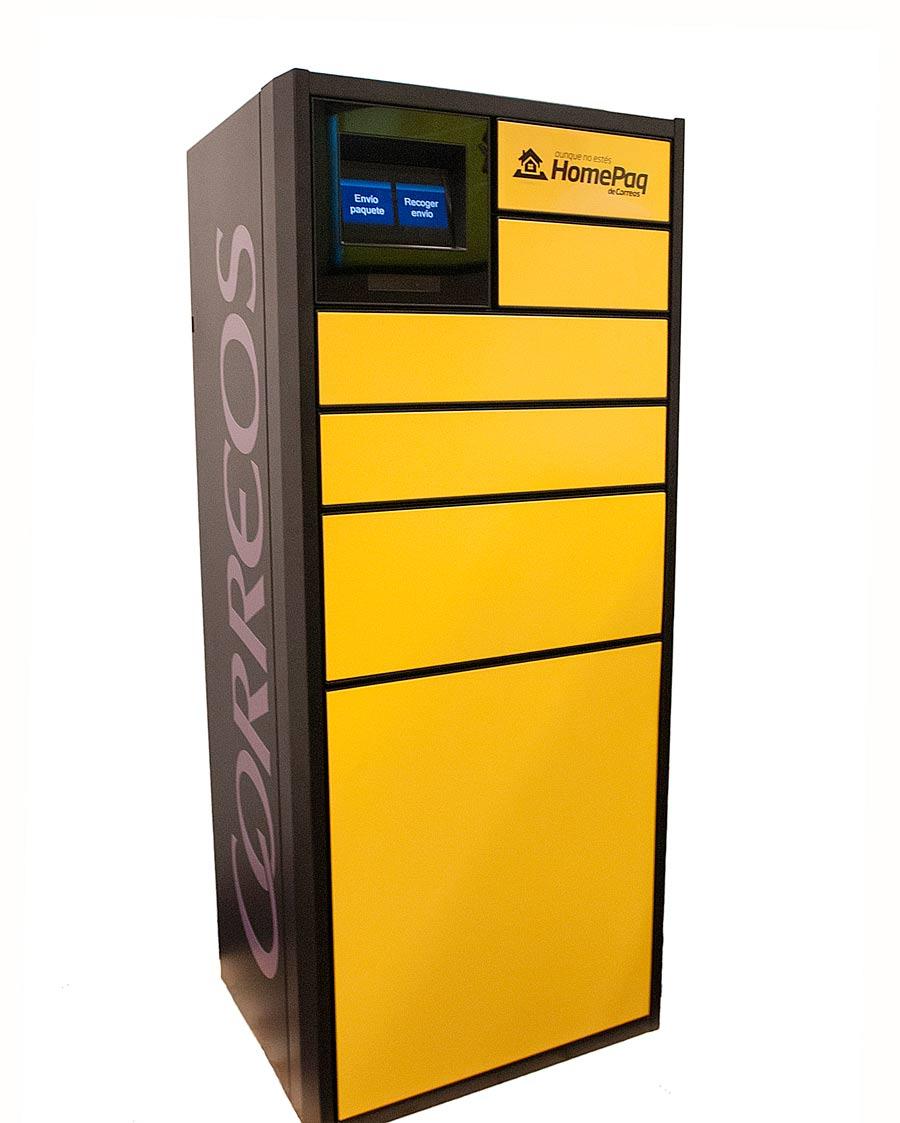 HomePaq contiene en un solo módulo los cajones para la recogida o envío de los paquetes y la electrónica de control del sistema.