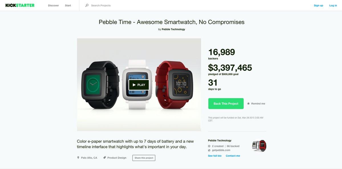 Pebble Time, smartwatch con pantalla de tecnología e-paper a color