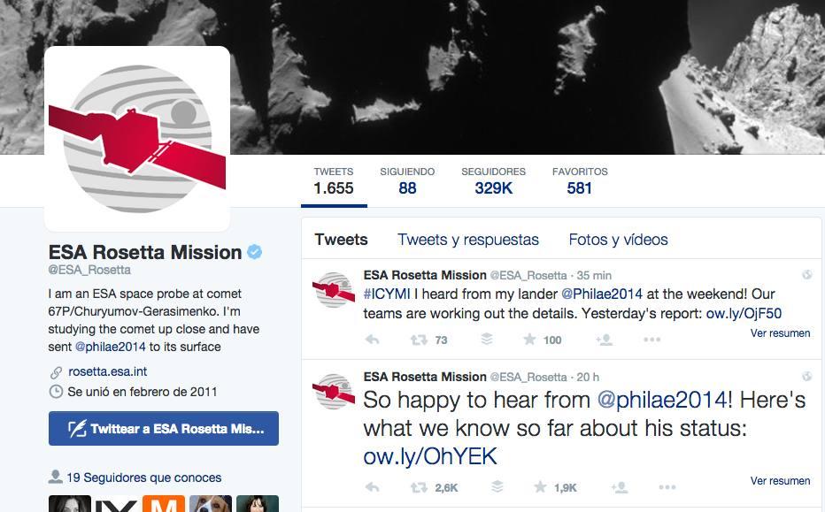 ESA Philae Twitter