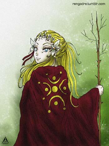 En las túnicas de las anjanas, Andrea dibuja el lábaro cántabro